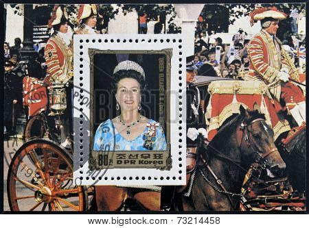 DPR KOREA - CIRCA 1984: A stamp printed in North Korea shows portraits of Queen Elizabeth II