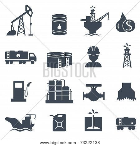 Set of oil and gas grey icons Petroleum industry