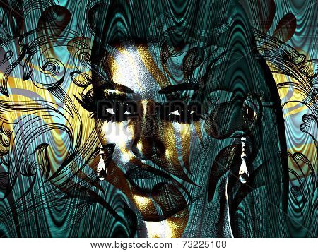 Turquoise and Gold Abstract Face Art