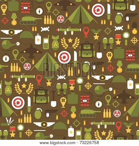 Seamless pattern of flat colorful  military and war icons set. Army infographic design elements. Ill