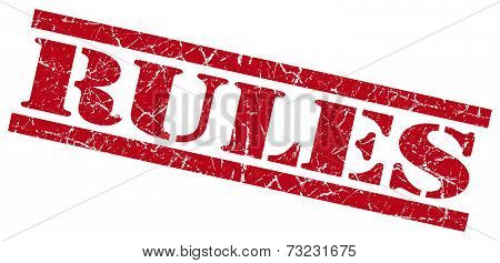 Rules Red Square Grunge Textured Isolated Stamp