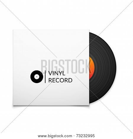 Black vintage vinyl record with blank cover case isolated on white background