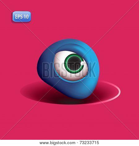 3D Monsters Eye - Blue