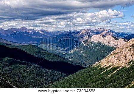 Mountain Range Landscape View In Jasper Np, Canada