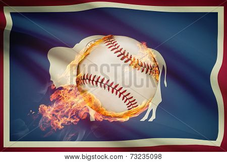 Baseball Ball With Flag On Background Series - Wyoming
