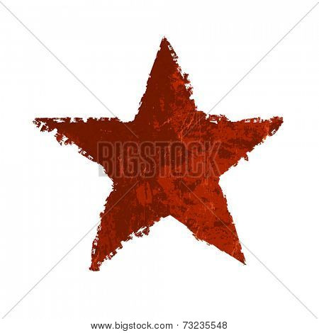 Red grunge star. Vector