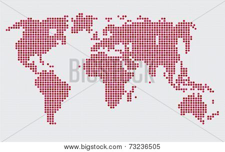 Abstract computer graphic world map round dots.