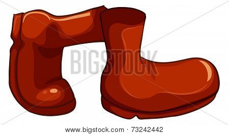 Illustration of a pair of red boots on a white background
