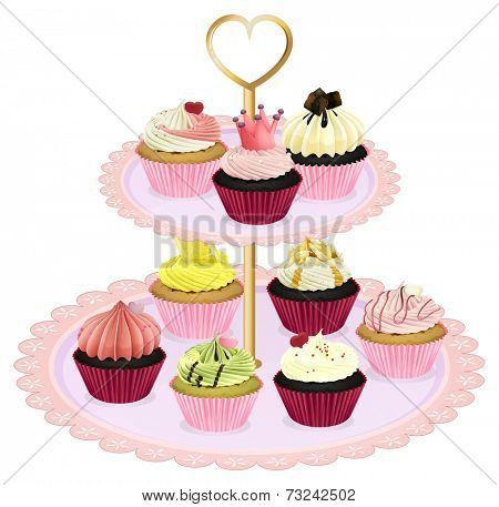 Illustration of the cupcakes at the tray on a white background