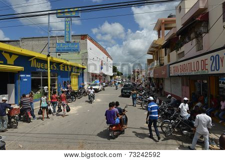 Higuey Busy City Street, Dominican Republic
