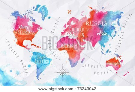 Watercolor world map pink blue