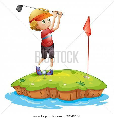 Illustration of an island with a boy playing golf on a white background