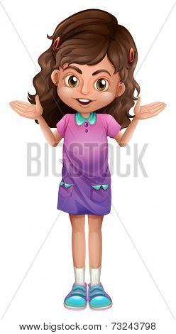 Illustration of a cute schoolgirl with hairclips on a white background