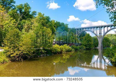 Steam Train By River