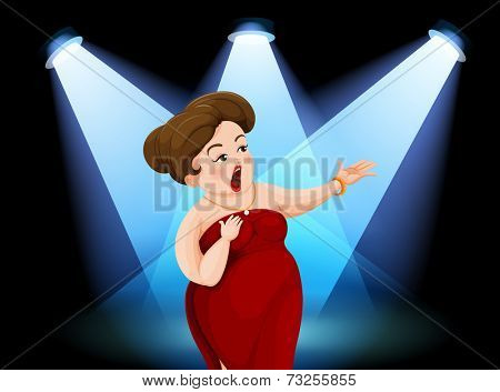 Illustration of a fat lady performing in the stage