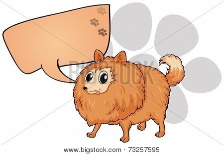 Illustration of a brown dog with an empty callout on a white background