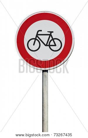 Traffic Sign entrance for cyclists disallowed isolated