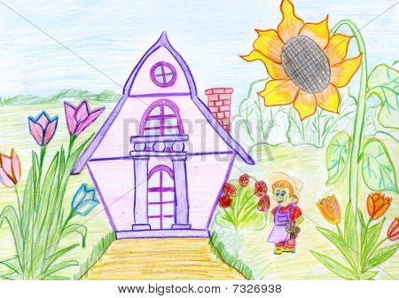 Child's Drawing Of A House And The Little Man.