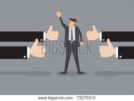 Successful Businessman With Many Thumbs Up