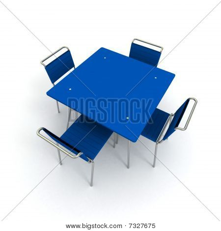 Table And Chairs In Blue