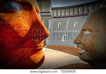 Mutual portrait of dictators in  colosseum