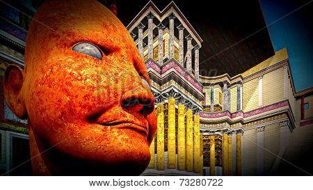 Portrait of dictator in  colosseum