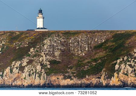 The Stiff lighthouse on the cliff top in ushant island, Brittany, France