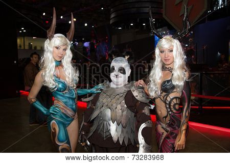 MOSCOW, RUSSIA, October 2: Comic Con attendee poses in the costume during Comic Con 2014 at The Crocus Center on October 2, 2014 in Moscow, Russia.