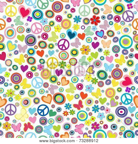 Flower Power Background Seamless Pattern With Flowers, Peace Signs, Circles And Butterflies
