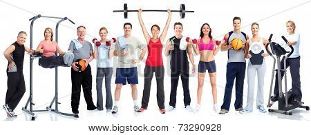 Group of fitness people isolated on white background