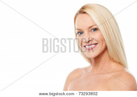 Smiling Woman With Bare Shoulders