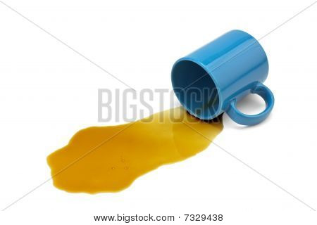 Frustrating Day?  Stress Getting To You?  Spilled Black Coffee And Blue Mug Isolated On White.
