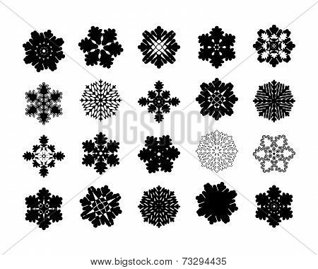 Set of intricate pattern snowflakes