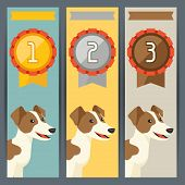 Award vertical banners with dog winning medal. poster