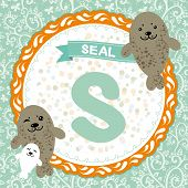 ABC animals: S is seal. Childrens english alphabet. poster