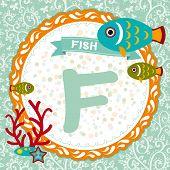 ABC animals: F is fish. Childrens english alphabet. poster