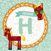 ABC animals H is horse. Childrens english alphabet. poster