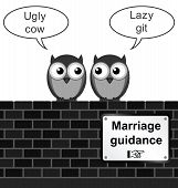Monochrome comical marriage guidance sign on brick wall isolated on white background poster
