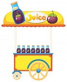 Illustration of a pushcart selling fruit juice on a white background poster
