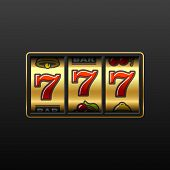 Vector illustration of 777 - winning in slot machine poster