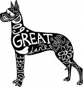 Hand drawn illustration of a great dane dog silhouette with doodle text and shapes added to it. poster