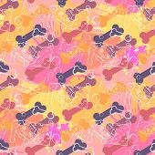 Abstract Dog with bone.Seamless pattern on the background of colorful blots inks.A series of strange animals.Crazy Dog.Such simple pleasures. poster
