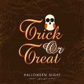 Beautiful poster for Halloween party night with scary owl and stylish text of Trick Or Treat on brown background. poster