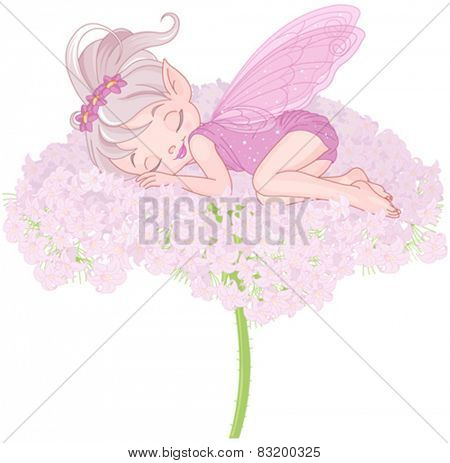 Illustration of cute sleeping Pixy Fairy
