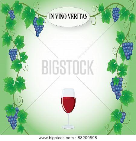 Grape frame with In vino veritas inscription