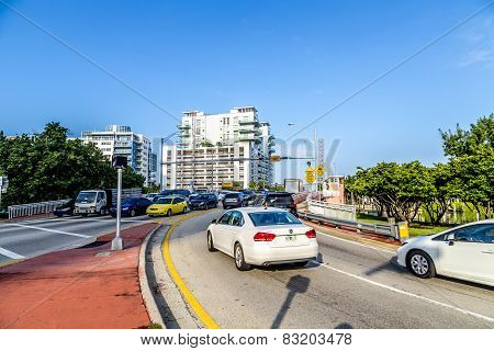 Cars Cross The Draw Bridge In Miami