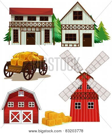 Illustration of different buildings in a farm
