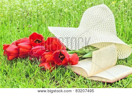 Bouquet Of Tulips, A Book, A Hat On The Grass