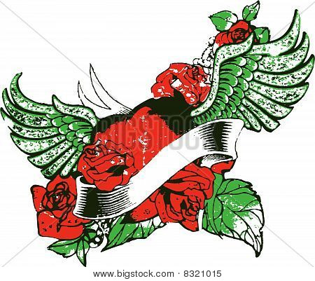 heart rose wing emblem