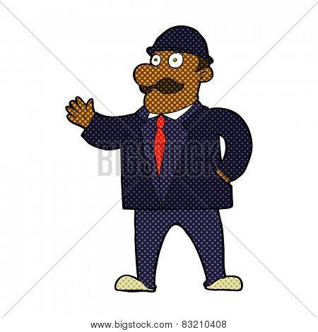 retro comic book style cartoon sensible businessman in bowler hat
